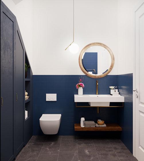 Thế kế vệ sinh tầng 1 biệt thự Vinhomes