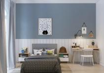 Phòng ngủ cho bé với tông màu xanh mát và tích cực