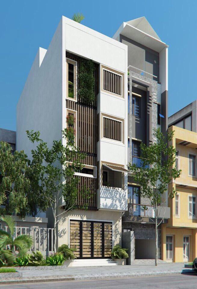 Thiết kế các mảng xanh và vật liệu cản nắng cho nhà phố có mặt tiền không lớn và hướng Tây