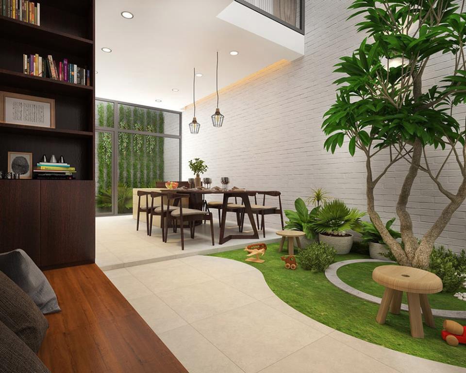 Thiết kế mảng không gian xanh có ánh sáng thông gió cho nhà liền kề khu đô thị Nam Thăng Long - Hà Nội
