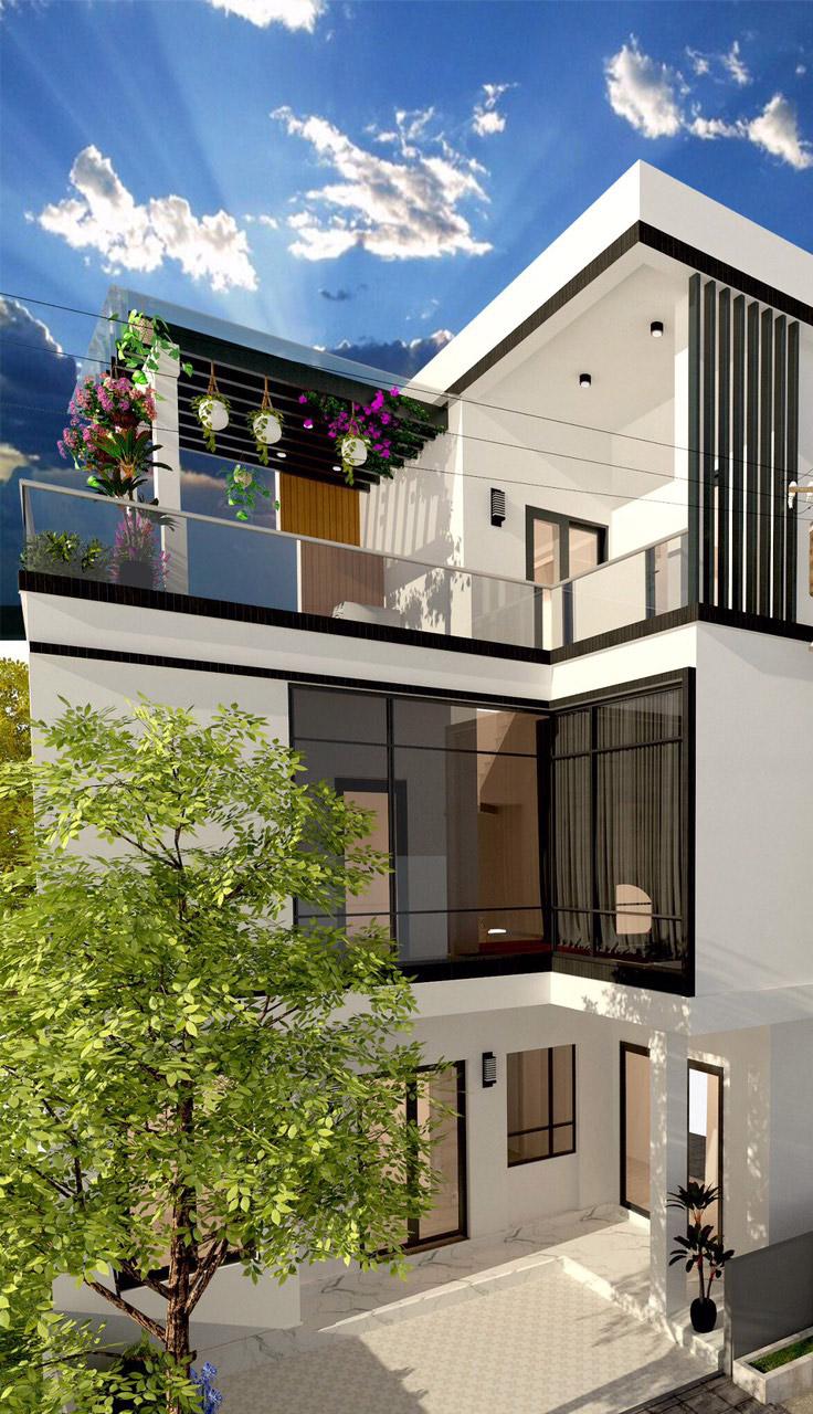 Thiết kế nhà phố lo góc khu đô thị Nam Trung Yên