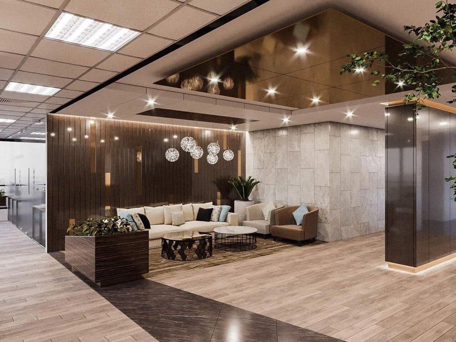 Thiết kế sảnh chờ và khu lễ tân văn phòng làm việc công ty tập đoàn AICA Nhật Bản