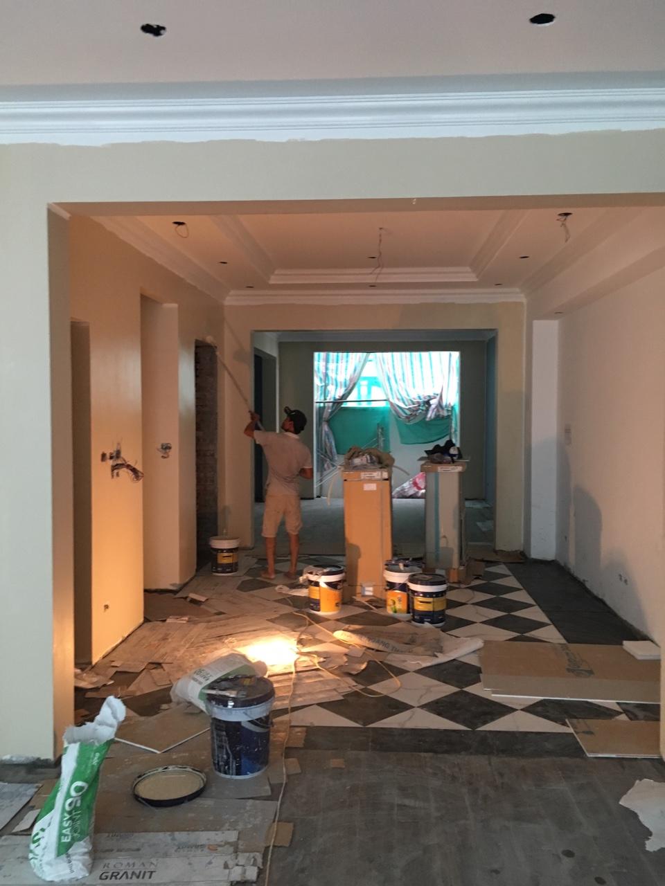 Sơn trong nhà khi lát nền xong