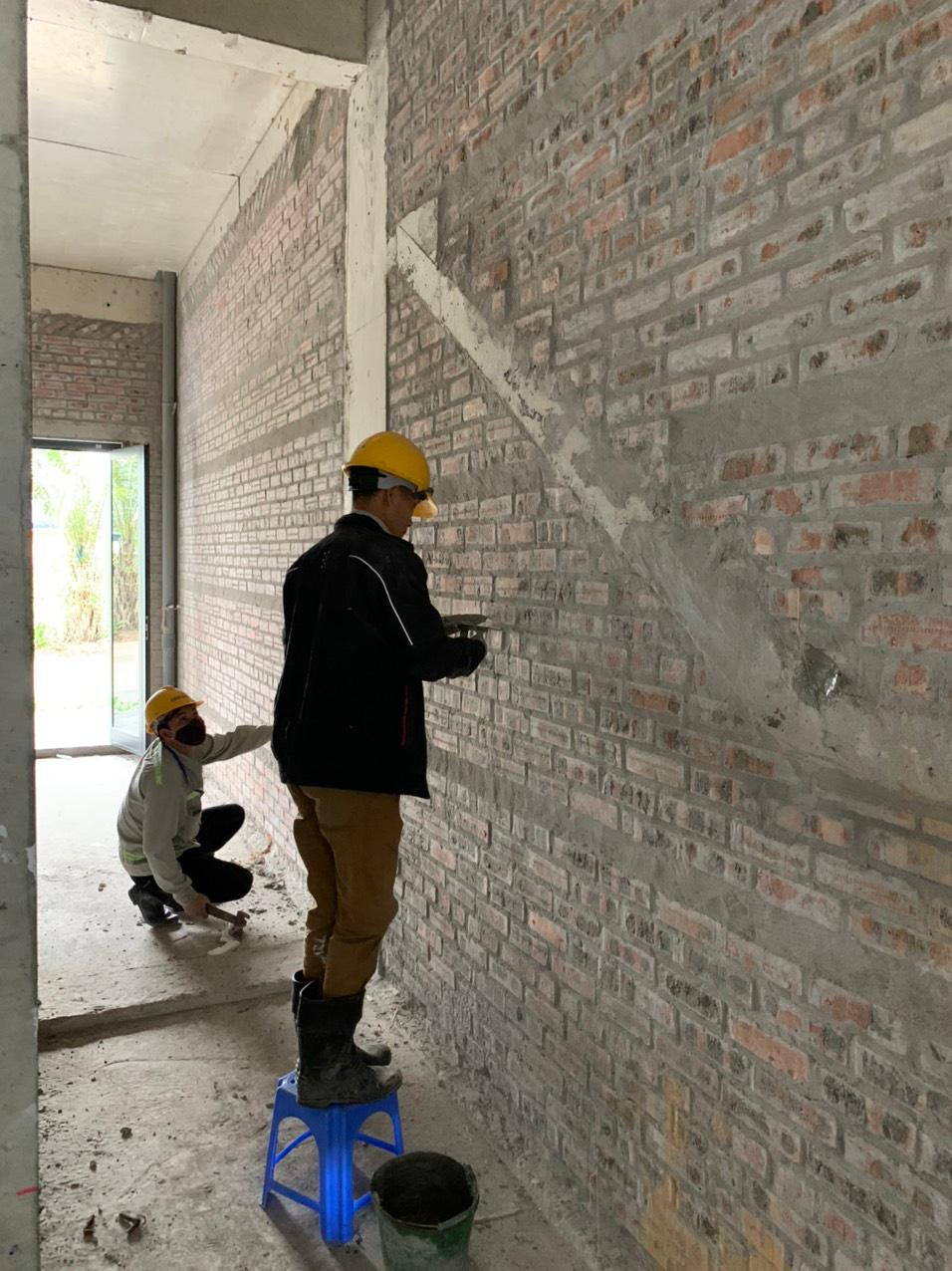 công tác đefect khu liền kề tường mới