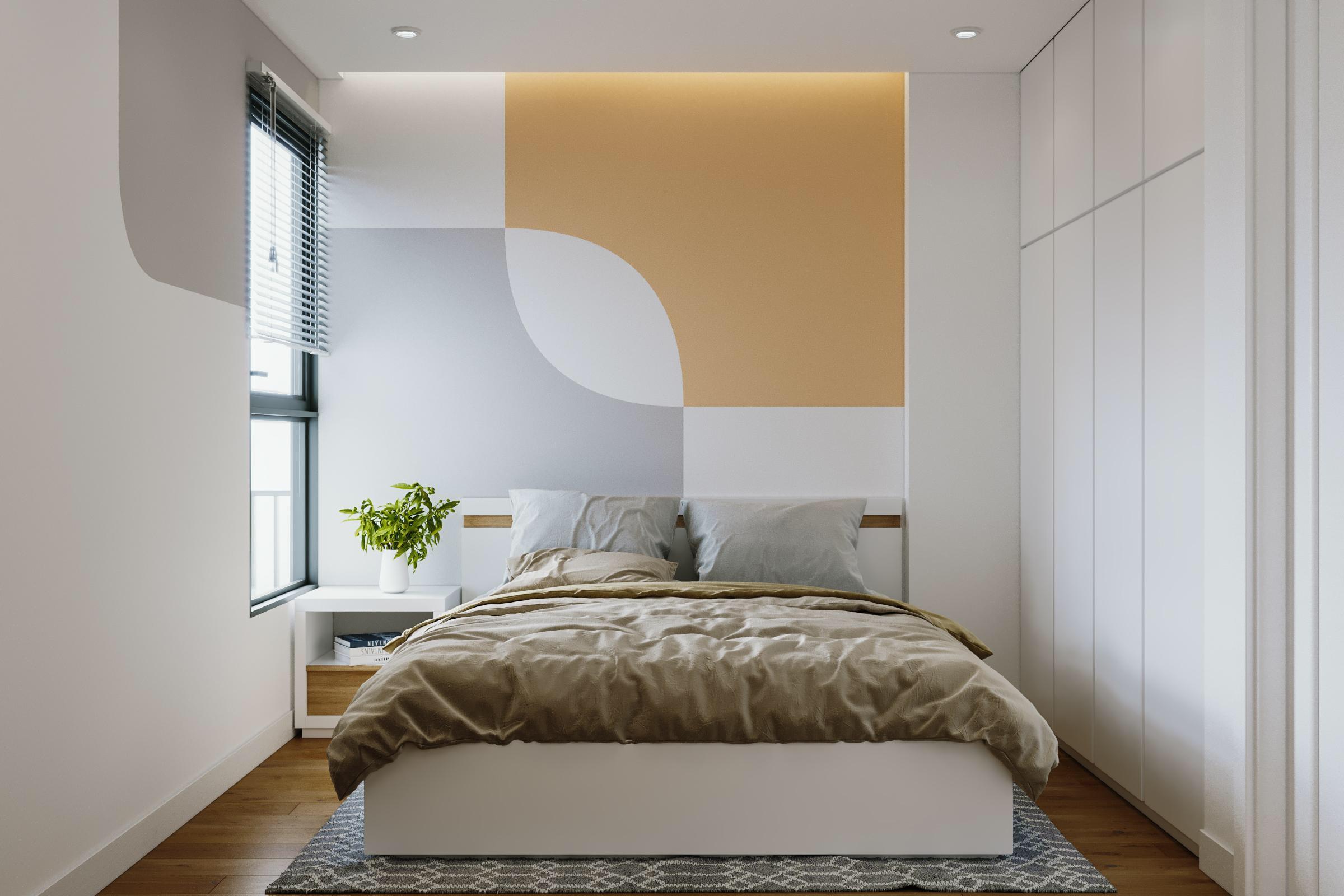 Phòng ngủ kết hợp màu sắc tươi mới
