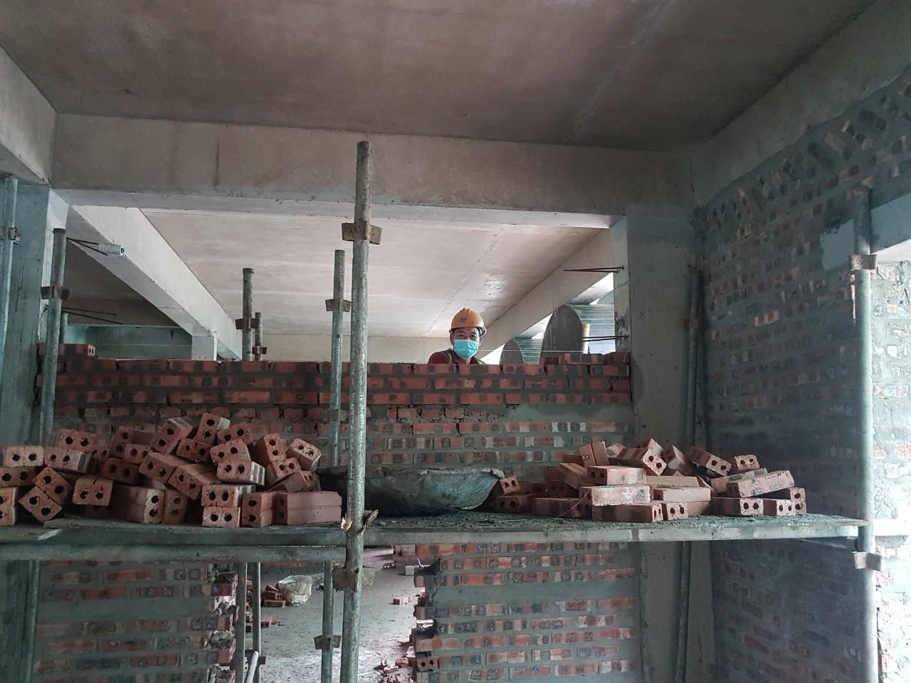 Công tác xây tường tầng 2 H78